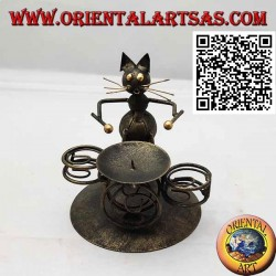 Wrought iron candle holder, the drummer cat