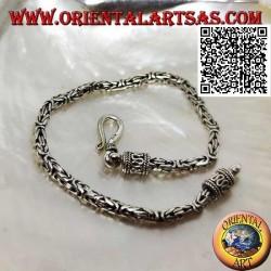 "Silver ""Borobudur"" link bracelet (Byzantine link) with 19 cm x 3 mm serpentine hook"