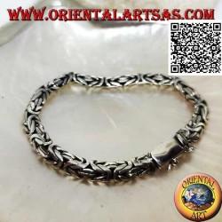 """Bracciale in argento a maglia """"Borobudur"""" (maglia bizantina) schiacciato da 19,5 cm x 7*5 mm"""