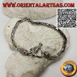 """Silbernes """"Borobudur"""" Gliederarmband (byzantinisches Glied) mit 22 cm x 4 mm Kreisverschluss"""