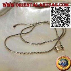 925 ‰ silver necklace with 40 cm x 1 mm coiled rope