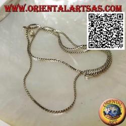 Collier en argent 925 ‰ écrasé à deux torsades de 45 cm x 0,5 * 1 mm