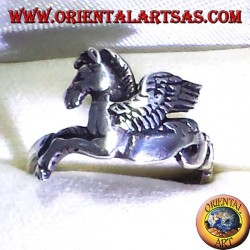 silver ring Pegasus winged horse,