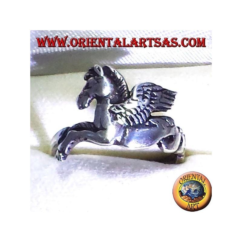 anello Pegaso   cavallo alato , in argento