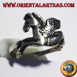 silver ring Pegasus winged horse,