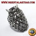 anello in argento, gufo traforato