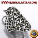 Silver ring, owl pierced