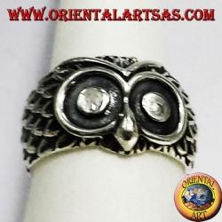 anneau de tête de hibou argent