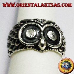 silver owl head ring
