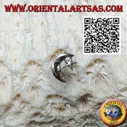 Mini orecchino d'argento, la mezzaluna con la stella (c)