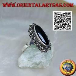 خاتم من الفضة مع الجزع البيضاوي الممدود بإطار سحابة ماركاسيت