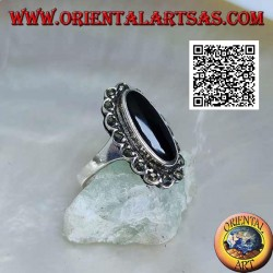 Silver ring with elongated oval onyx with a marcasite cloud frame