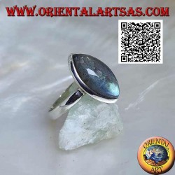 Silver ring with cabochon shuttle labradorite surrounded by a simple border