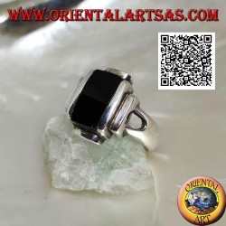 Silver ring with smooth overlapping rectangles and rectangular onyx