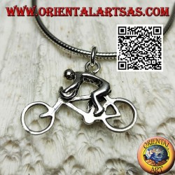 Silver pendant, the racing sprinter cyclist