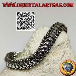 Bracciale in argento piatto e largo a millepiedi liscio da 22 cm x 11*5 mm