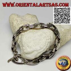 Bracciale in argento a catenaccio con anelli ovali allungati da 23 cm x 9 mm