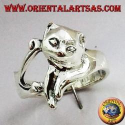 Anello gatto (micio) in argento