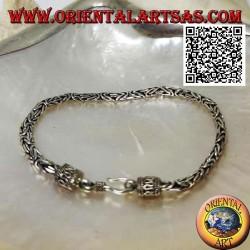 "18.5cm x 4 * 3mm Crushed ""Borobudur"" (Byzantine Link) Mesh Silver Bracelet"