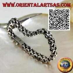 19.5cm x 7 * 5mm Three Row Ring Soft Silver Bracelet