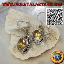 Silver earrings with natural oval yellow topaz and trio of balls on the four cardinal points