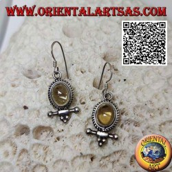 Silver earrings with oval cabochon natural yellow topaz surrounded by weaving and bar with balls underneath