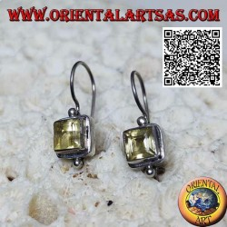 Silver earrings with square faceted natural yellow topaz on smooth setting