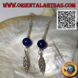 Silver dangle earrings with bar, lapis lazuli sphere and leaf