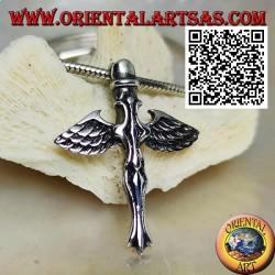 Silberkreuzanhänger mit Schwert und Engelsflügeln von St. Michael