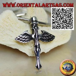 Silver cross pendant with sword and angel wings of St. Michael
