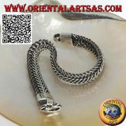 21.5cm x 11 * 5mm flat wide millipede (intertwined ovals) silver bracelet