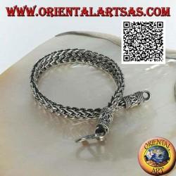 Flaches und breites Silberarmband mit doppelten Schnüren von 21 cm x 8 * 3 mm