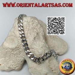 Rundketten-Silberarmband, flach und glatt, 21,5 cm x 7 * 2 mm Bordstein