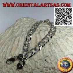 Bracciale in argento a catena squadrata, grumetta piatto e diamantato da 22,5 cm x 8*2 mm