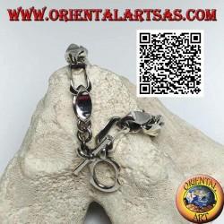 Bracciale in argento a catenaccio ad anelli concavi da 22 cm x 10 mm