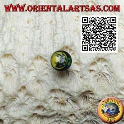 Mini silberner Ohrring, rundes Gesicht mit Sternen (schwarz und gelb)