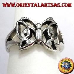 anneau de papillon en argent massif
