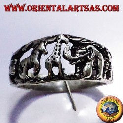 Silver ring, animals of the African Savannah