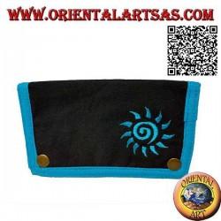 Pochette à tabac avec soleil en spirale et zip interne, en 100% coton et fermeture à clip (bleu clair)