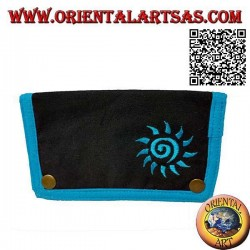 Tobacco pouch with spiral sun and internal zip, in 100% cotton and clip closure (light blue)