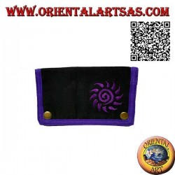 Tobacco pouch with spiral sun and internal zip, in 100% cotton and clip closure (purple)