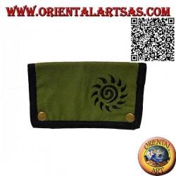 Pochette à tabac avec soleil en spirale et zip interne, en 100% coton et fermeture à clip (noir et vert)
