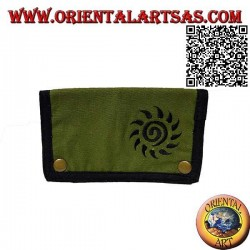 Tobacco pouch with spiral sun and internal zip, in 100% cotton and clip closure (black and green)