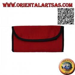Portatabacco filtri e cartine con zip sul retro, in 100% cotone e chiusura a strappo (rosso)