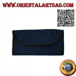 Tobacco filters and papers holder with zip on the back, in 100% cotton and hook and loop closure (blue)