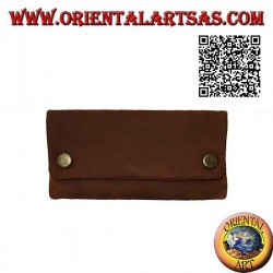 Tobacco and papers holder with double compartment, in 100% leather and clip closure (brown)