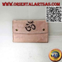"Tobacco and papers holder with internal zip and ""Om"", in 100% suede and clip closure (light pink)"