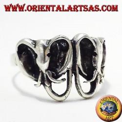 Anello  in argento due teste elefanti