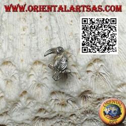 Серебряная мини-серьга, попугай