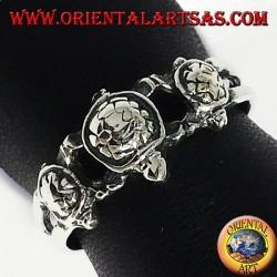 three turtle silver ring